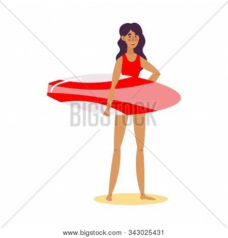 Cute Lifeguard Girl In A Red Swimsuit Standing With Surfboard Looking Into The Distance. Vector Illu