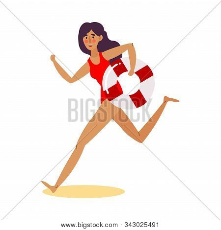 Cute Lifeguard Girl In A Red Swimsuit Running With The Life-preserver Buoy. Vector Illustration In F