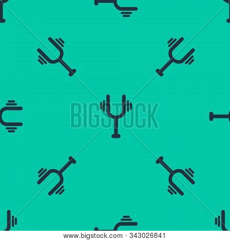 Blue Line Musical Tuning Fork For Tuning Musical Instruments Icon Isolated Seamless Pattern On Green