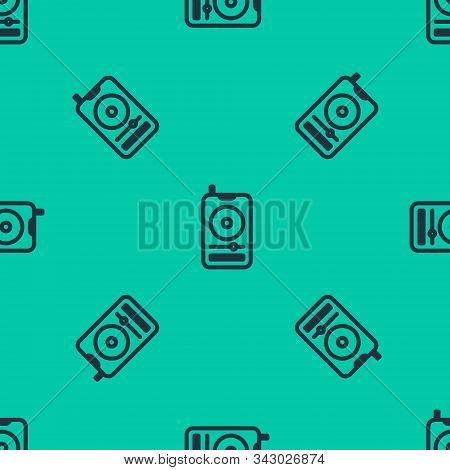 Blue Line Music Player Icon Isolated Seamless Pattern On Green Background. Portable Music Device. Ve