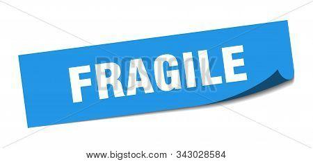 Fragile Sticker. Fragile Square Isolated Sign. Fragile Blue Peeler
