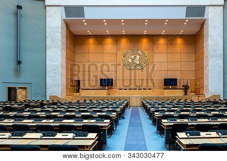 Geneva, Switzerland - April 15, 2019:  An Assembly Hall In The Palace Of Nations - Un Headquarters I