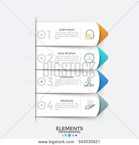 Four Paper White Pointers Or Arrow-like Bookmarks Placed One Below Other. Modern Infographic Design