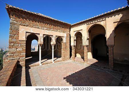Malaga, Spain - July 7, 2008 - Patio Aside Torre De Maldonado At The Nasrid Palace In Malaga Castle,