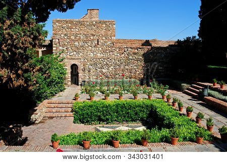 Malaga, Spain - July 7, 2008 - Supplier Courtyard And Gardens At The Nasrid Palace In Malaga Castle,