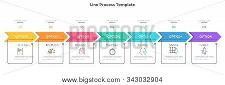Horizontal Timeline With 7 Square Elements, Arrows And Dates. Seven Successive Steps Of Business Pro