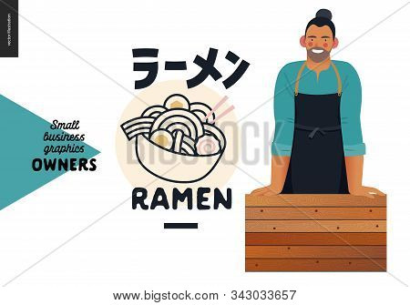 Ramen -small Business Owners Graphics -owner. Modern Flat Vector Concept Illustrations - Young Man W