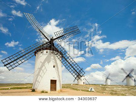 Medieval Windmills of Campo de Criptana, La Mancha, Spain.  Writer Miguel de Cervantes made La Mancha's windmills famous.