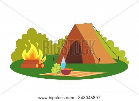 Camping Place Nature Environment Tent And Bonfire Vector. Camp And Blanket With Bowl And Bottle With