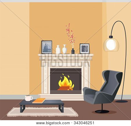 Room In Corporeal Color Of Wallpaper With Lump. Coffee Table With Cup And Notebook And Armchair, Bur