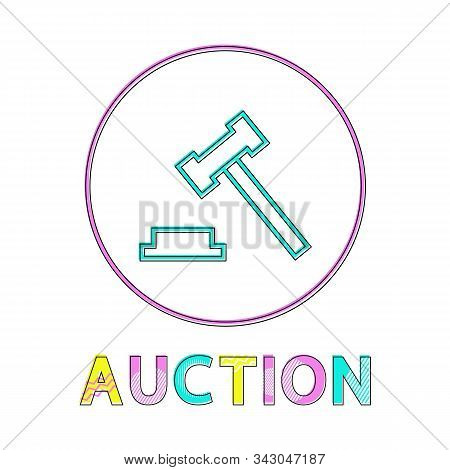 Auction Hammer Flat Vector Color Framed Icon In Minimalistic Style. Symbol For Merchandise Put Up Fo