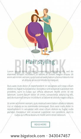 Hair Styling Web Poster, Stylist Using Dryer Making Client Haircut. Hairstyle Changes And New Style