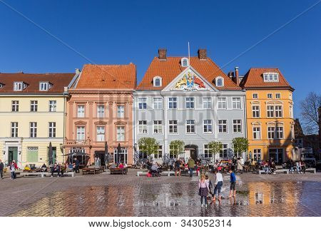 Stralsund, Germany - April 18, 2019: Colorful Houses On The Market Square Of Stralsund, Germany