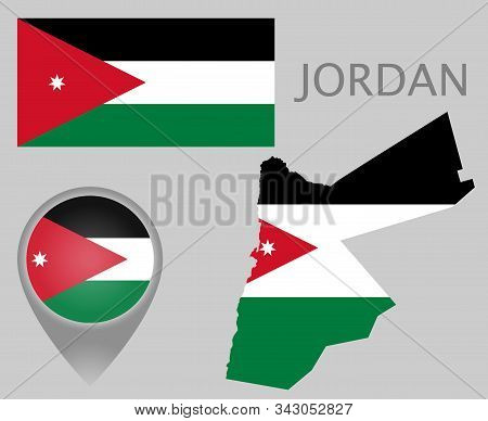 Colorful Flag, Map Pointer And Map Of Jordan In The Colors Of The Jordanian Flag. High Detail. Vecto