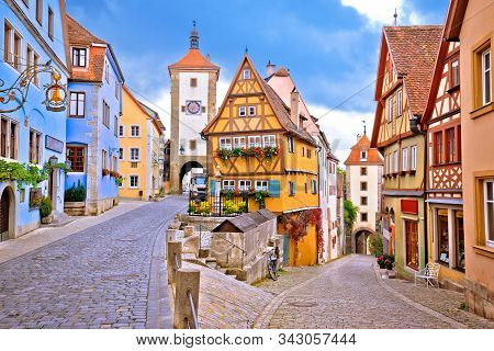 Cobbled Street And Architecture Of Historic Town Of Rothenburg Ob Der Tauber View, Romantic Road Of