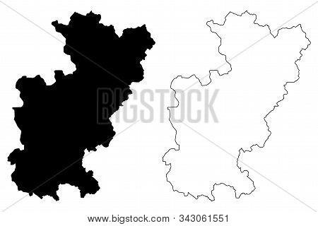 District of Gjilan (Republic of Kosovo and Metohija, Districts of Kosovo, Republic of Serbia) map vector illustration, scribble sketch Gnjilane map poster