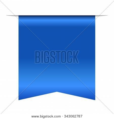 Blue Bookmark Banner 3d. Vertical Book Mark, Isolated White Background. Color Tag Label. Flag Symbol