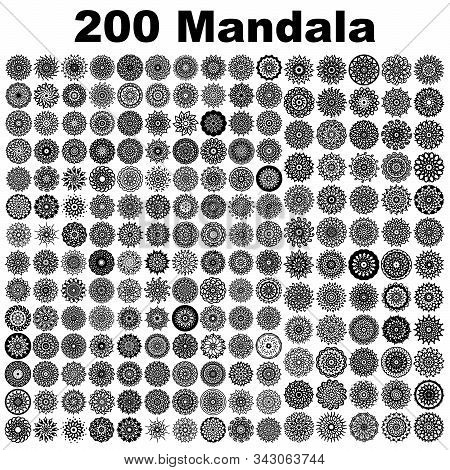 Various Mandala Collections - 200. Ethnic Mandala Ornament. Round Pattern Set.templates With Doodle