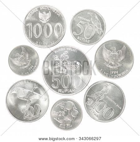 A Full Set Of Indonesian Rupee Coins In A Heap And Isolated On A White Background