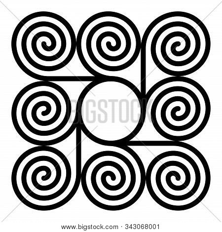 Eight Arithmetic Spirals Around A Circle Forming A Square Shaped Pattern. Archimedean Spirals Of Sam