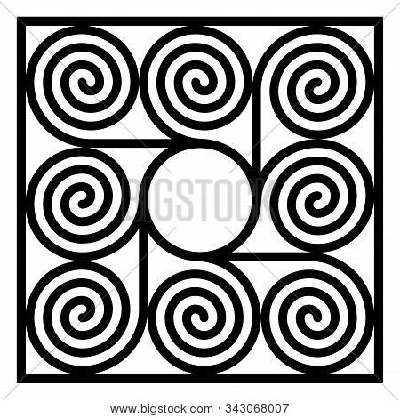 Square Shaped Tile Made Of Eight Arithmetic Spirals Around A Circle. Pattern Of Archimedean Spirals