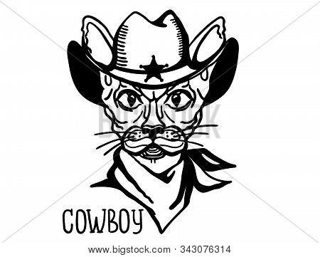 Cat Cowboy With Western Cowboy Hat And Bandanna. Vector Printable Cat Animal Handdrawn Illustation
