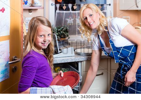 Young housewife is doing the dishes with dishwasher, her daughter is helping her