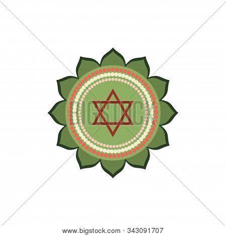 Anahata.heart Chakra. Fourth Chakra Symbol Of Human. Vector Illustration Isolated On White Backgroun
