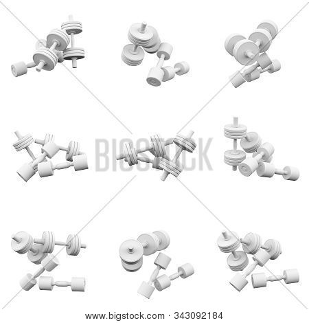 Dumbbells Isolated On The White Background  3d Rendering