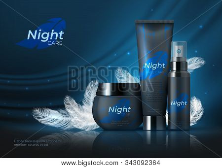 Night Cosmetic Background. Beauty Skin Care Product, Night Cream On Dark Night Backdrop With Black F