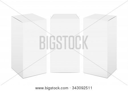 Paper Boxes. White Cardboard Package Mockup, Realistic 3d Rectangular Medicine And Food Pack. Vector