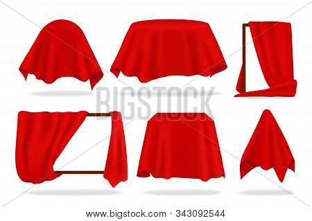 Red silk cover. Realistic covered objects with cloth draped or reveal curtain, red napkin or tablecloth. Vector 3D isolated illustration set covering to be revealed shape object on white background poster