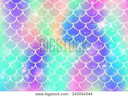 Princess Mermaid Background With Kawaii Rainbow Scales Pattern. Fish Tail Banner With Magic Sparkles