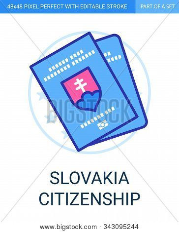Citizenship Or Passport Of Slovakia Icon In Flat Outline Style On White Background.