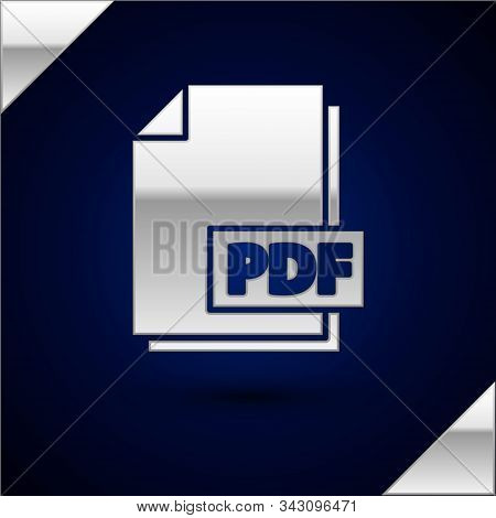 Silver Pdf File Document. Download Pdf Button Icon Isolated On Dark Blue Background. Pdf File Symbol