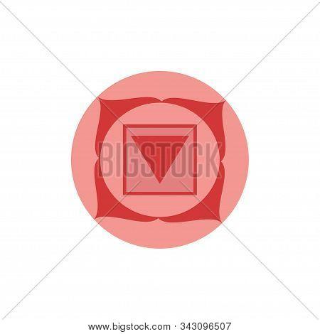 Muladhara.root Or Base Chakra.first Chakra Symbol Of Human. Vector Illustration Isolated On White Ba