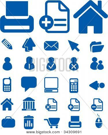blue web office icons set, vector