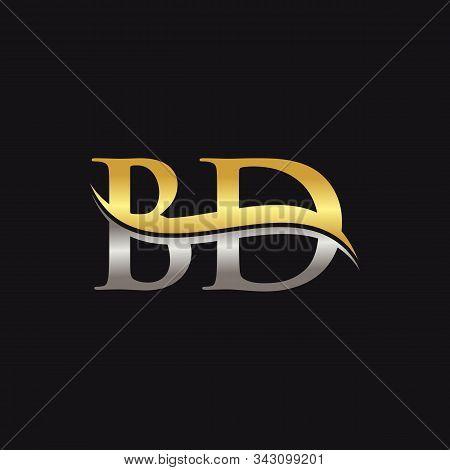 Initial Gold And Silver Letter Bd Logo Design With Black Background. Bd Logo Design.