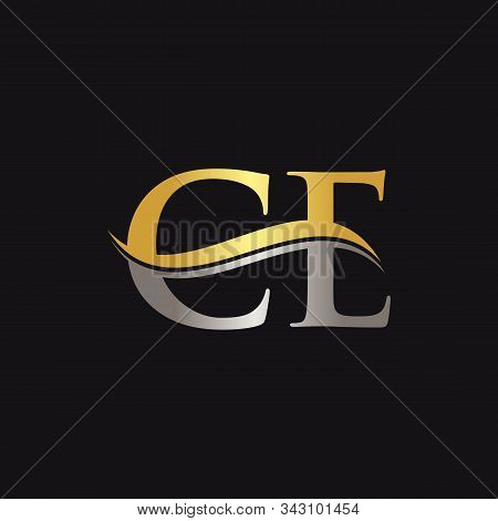 Initial Gold And Silver Letter Ce Logo Design With Black Background. Ce Logo Design.