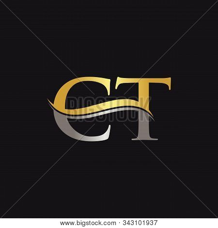 Initial Gold And Silver Letter Ct Logo Design With Black Background. Ct Logo Design.