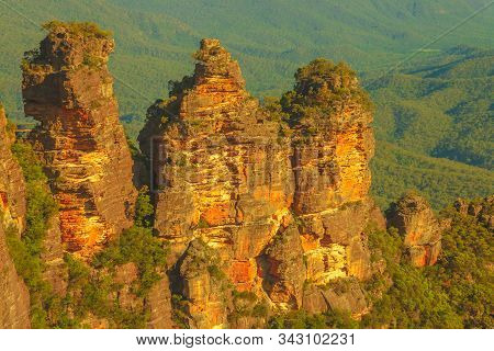 Details Of Three Sisters, Dramatic Sandstone Cliffs Rock Formation, One Of The Best-known Attraction