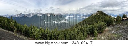 Landscape View From The Mountains In Banff National Park In The Canadian Rockies; Panorama