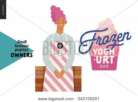 Frozen Yoghurt Bar -small Business Owners Graphics -owner. Modern Flat Vector Concept Illustrations