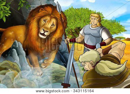 Cartoon Scene With Greek Or Roman Warrior Or Philosopher Fighting Nemean Lion - Illustration For Chi