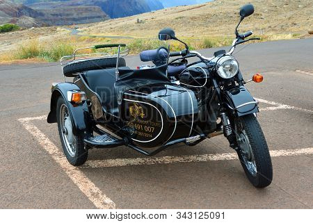Canical, Madeira, Portugal -  June 23, 2019: Classic  Motorcycle And Sidecar Used To Give Island Tou
