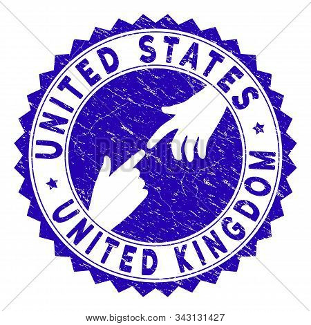 Connecting United States United Kingdom Watermark. Blue Vector Round Grunge Seal Stamp With Connecti