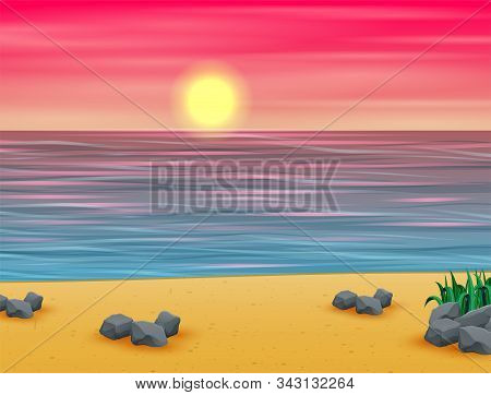 Pink Summer Sunset On The Tropical Beach Background