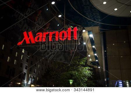 Prague, Czechia - November 3, 2019: Marriott Logo On Their Main Hotel In Prague. Courtyard Marriott