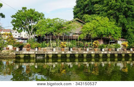 Melaka, Malaysia - Aug 19, 2014. Ancient Houses With Canal In Melaka, Malaysia. Melaka (malacca) Is