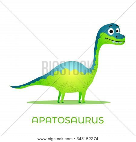 Cute Dinosaur Apatosaurus Cartoon Drawn For Tee Print. Vector